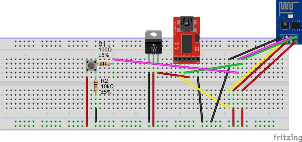 ESP8266 Flashen Steckplatine mit Button zum Auslesen_Steckplatine
