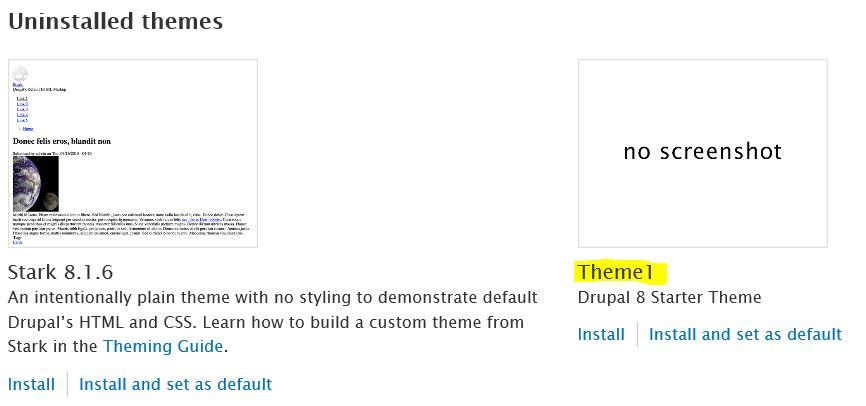 Drupal Themes Install
